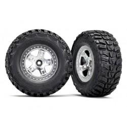 Tires & wheels, assembled, glued (SCT satin chrome, beadlock style wheels, Kumho tires, foam inserts) (2) (2WD front)