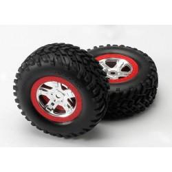 Tires & wheels, assembled, glued (SCT, satin chrome wheels,, TRX5973A